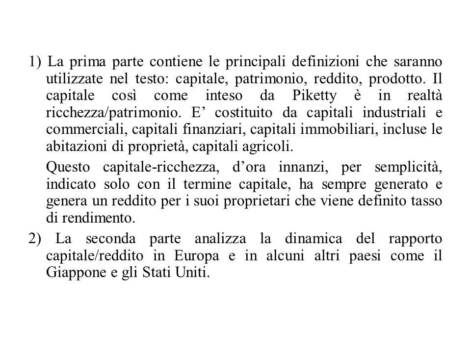1) La prima parte contiene le principali definizioni che saranno utilizzate nel testo: capitale, patrimonio, reddito, prodotto. Il capitale così come