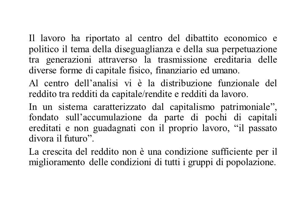 Il lavoro ha riportato al centro del dibattito economico e politico il tema della diseguaglianza e della sua perpetuazione tra generazioni attraverso la trasmissione ereditaria delle diverse forme di capitale fisico, finanziario ed umano.