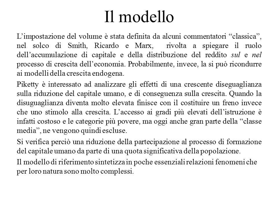 """Il modello L'impostazione del volume è stata definita da alcuni commentatori """"classica"""", nel solco di Smith, Ricardo e Marx, rivolta a spiegare il ruo"""