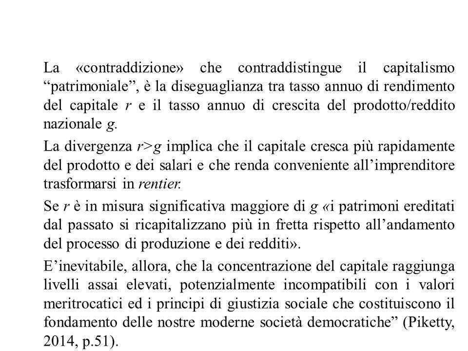 """La «contraddizione» che contraddistingue il capitalismo """"patrimoniale"""", è la diseguaglianza tra tasso annuo di rendimento del capitale r e il tasso an"""