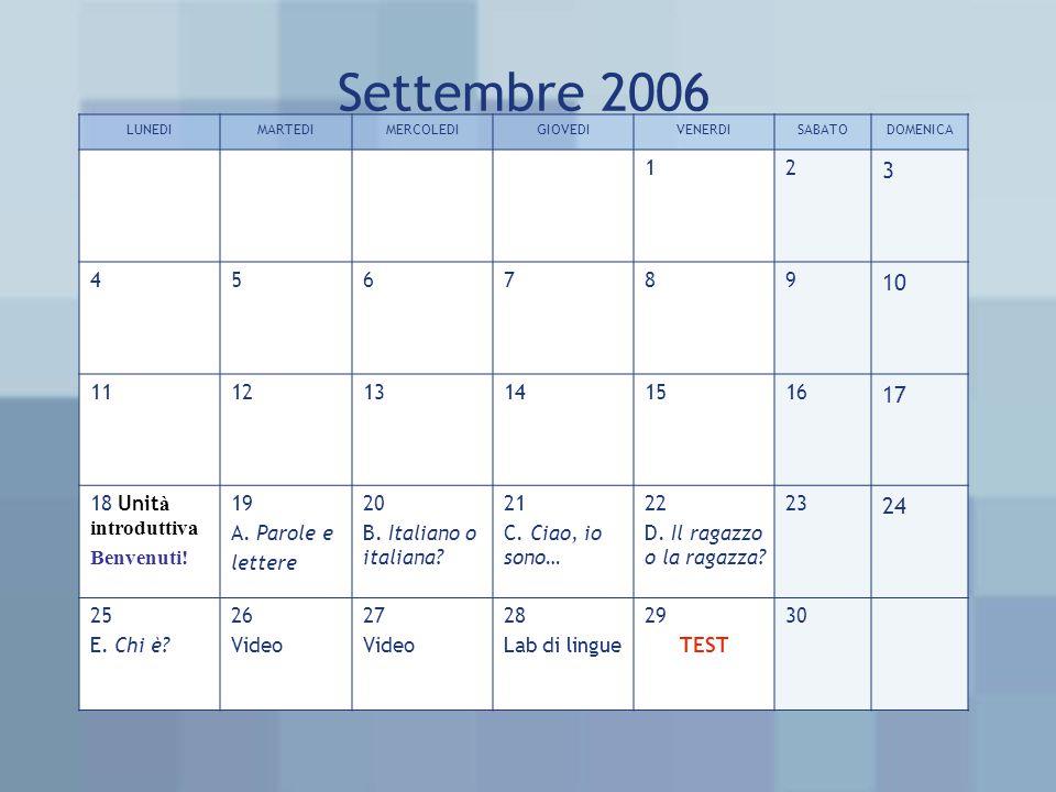 Settembre 2006 LUNEDIMARTEDIMERCOLEDIGIOVEDIVENERDISABATODOMENICA 12 3 456789 10 111213141516 17 18 Unit à introduttiva Benvenuti.