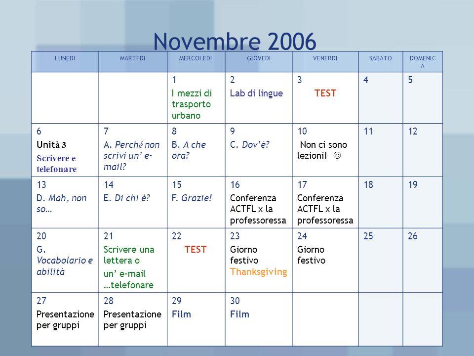 Novembre 2006 LUNEDIMARTEDIMERCOLEDIGIOVEDIVENERDISABATODOMENIC A 1 I mezzi di trasporto urbano 2 Lab di lingue 3 TEST 45 6 Unit à 3 Scrivere e telefonare 7 A.