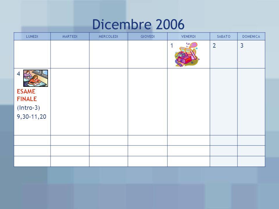 Dicembre 2006 LUNEDIMARTEDIMERCOLEDIGIOVEDIVENERDISABATODOMENICA 123 4 ESAME FINALE (Intro-3) 9,30-11,20