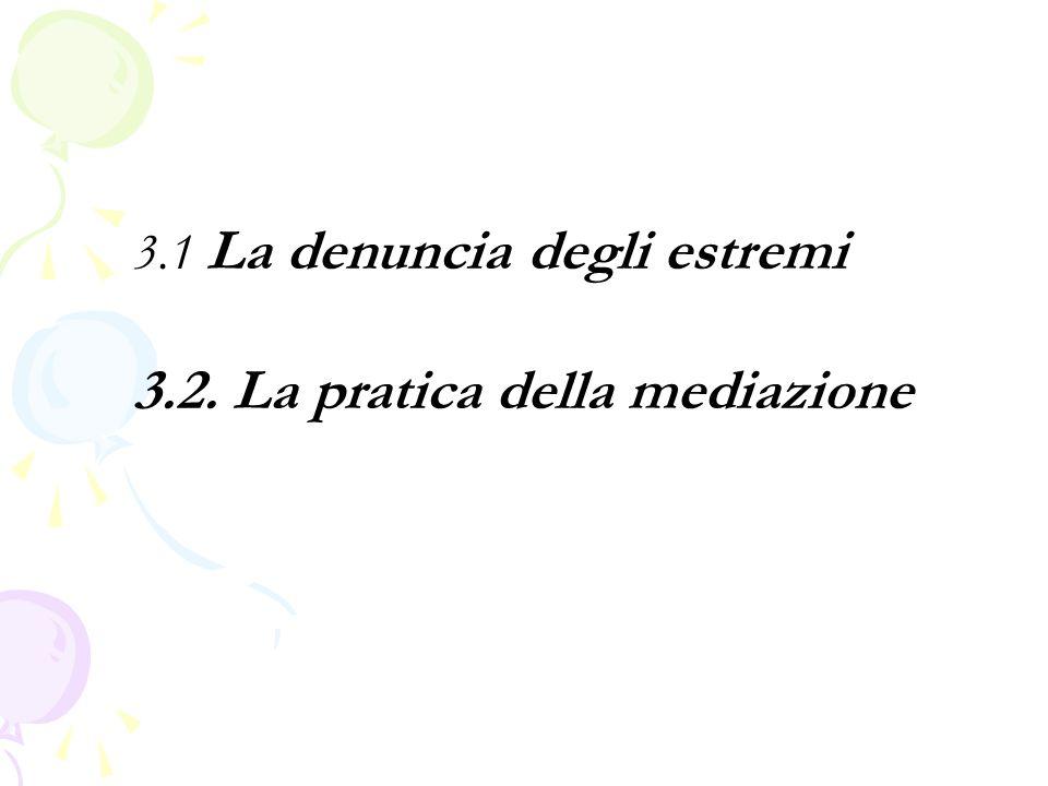 3.1 La denuncia degli estremi 3.2. La pratica della mediazione