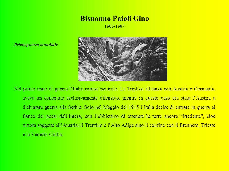 Bisnonno Paioli Gino 1903-1987 Prima guerra mondiale Nel primo anno di guerra l'Italia rimase neutrale.