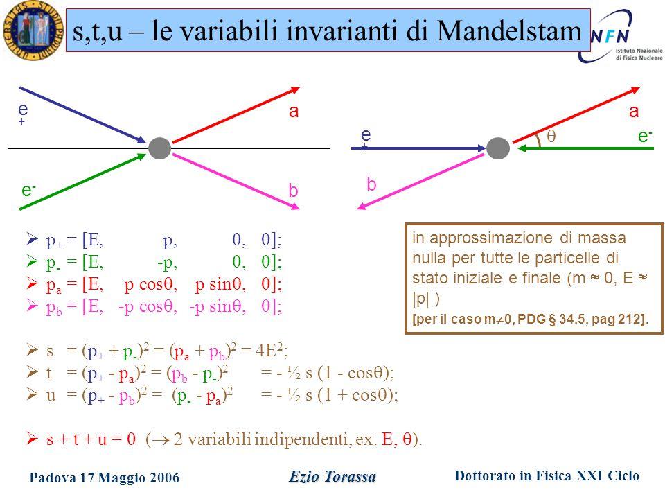 Dottorato in Fisica XXI Ciclo Padova 17 Maggio 2006 Ezio Torassa in approssimazione di massa nulla per tutte le particelle di stato iniziale e finale (m  0, E  |p| ) [per il caso m  0, PDG § 34.5, pag 212].