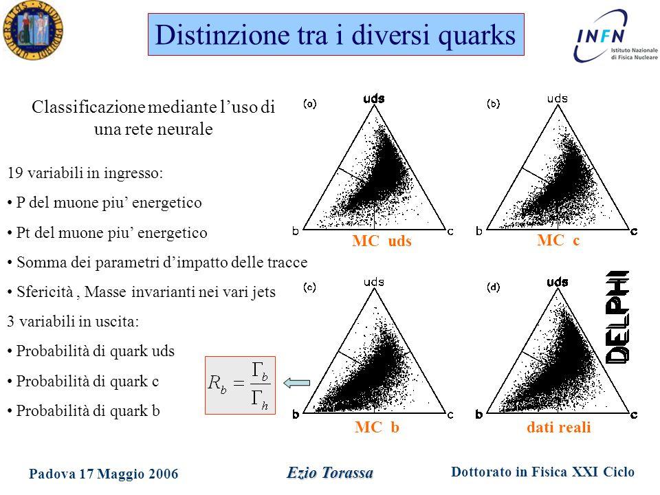 Dottorato in Fisica XXI Ciclo Padova 17 Maggio 2006 Ezio Torassa 19 variabili in ingresso: P del muone piu' energetico Pt del muone piu' energetico Somma dei parametri d'impatto delle tracce Sfericità, Masse invarianti nei vari jets 3 variabili in uscita: Probabilità di quark uds Probabilità di quark c Probabilità di quark b Distinzione tra i diversi quarks Classificazione mediante l'uso di una rete neurale MC uds MC c MC bdati reali