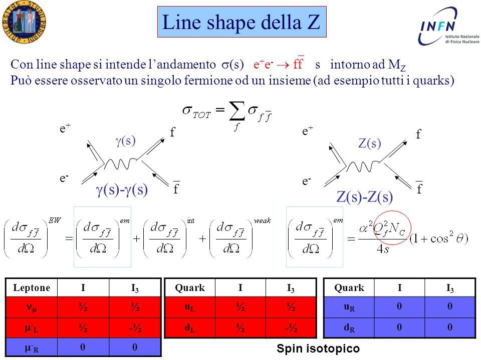 Dottorato in Fisica XXI Ciclo Padova 17 Maggio 2006 Ezio Torassa   s) e+e+ e-e-  (s)-  (s)  Z(s) e+e+ e-e- Z(s)-Z(s) Line shape della Z Con line shape si intende l'andamento  (s) e + e -  ff s intorno ad M Z Può essere osservato un singolo fermione od un insieme (ad esempio tutti i quarks) _ LeptoneII3I3  ½½ -L-L ½-½ -R-R 00 QuarkII3I3 uLuL ½½ dLdL ½-½ QuarkII3I3 uRuR 00 dRdR 00 Spin isotopico f f f f __