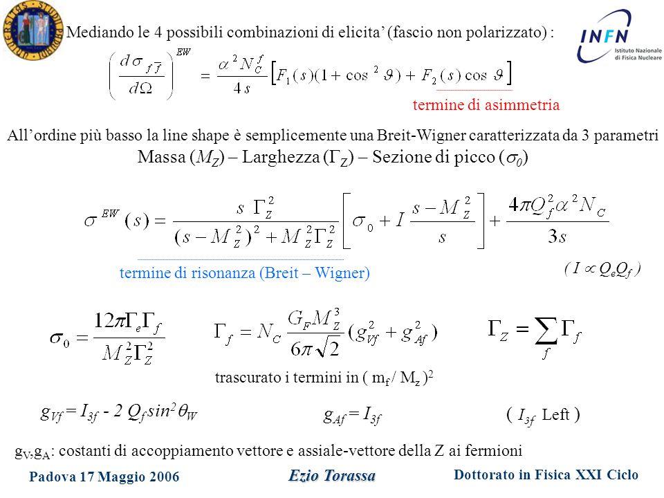 Dottorato in Fisica XXI Ciclo Padova 17 Maggio 2006 Ezio Torassa g Vf = I 3f - 2 Q f sin 2  W g Af = I 3f g V,g A : costanti di accoppiamento vettore e assiale-vettore della Z ai fermioni termine di asimmetria termine di risonanza (Breit – Wigner) ( I  Q e Q f ) trascurato i termini in ( m f / M z ) 2 All'ordine più basso la line shape è semplicemente una Breit-Wigner caratterizzata da 3 parametri Massa (M Z ) – Larghezza (  Z ) – Sezione di picco (  0 ) Mediando le 4 possibili combinazioni di elicita' (fascio non polarizzato) : ( I 3f Left )