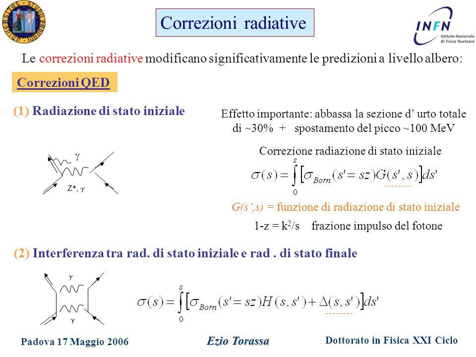 Dottorato in Fisica XXI Ciclo Padova 17 Maggio 2006 Ezio Torassa Correzioni radiative Le correzioni radiative modificano significativamente le predizioni a livello albero: Z*,   Effetto importante: abbassa la sezione d' urto totale di ~30% + spostamento del picco ~100 MeV Correzioni QED G(s',s) = funzione di radiazione di stato iniziale Correzione radiazione di stato iniziale 1-z = k 2 /s frazione impulso del fotone (1) Radiazione di stato iniziale   (2) Interferenza tra rad.