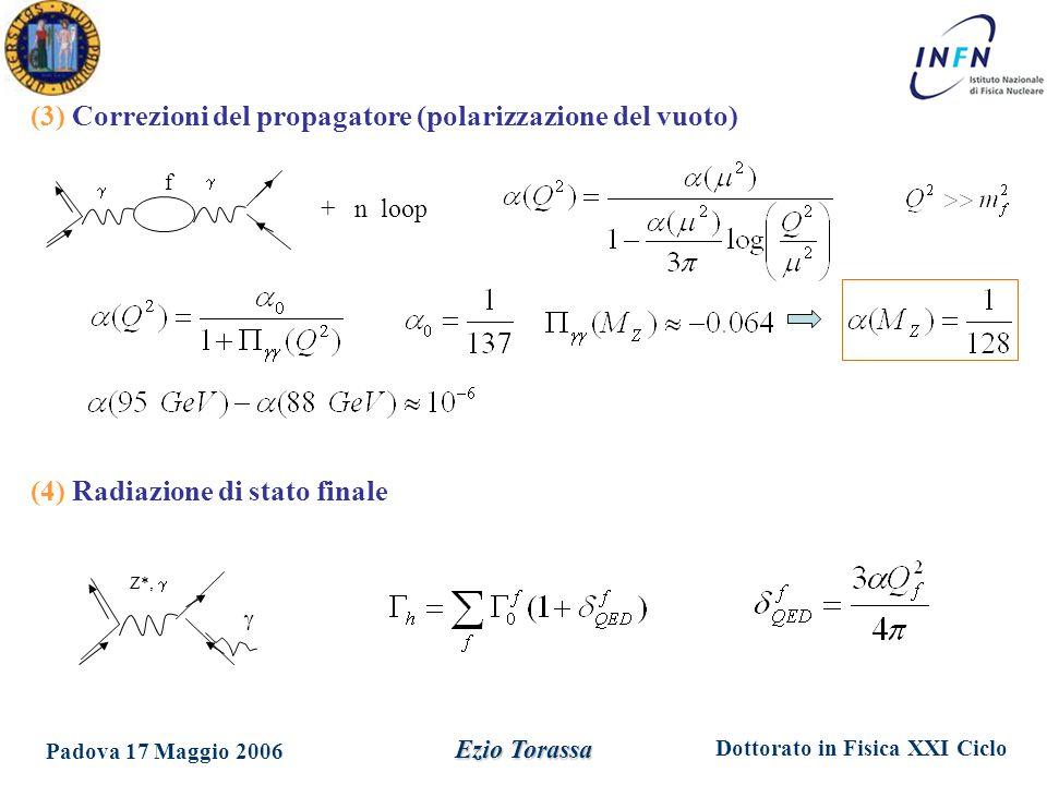 Dottorato in Fisica XXI Ciclo Padova 17 Maggio 2006 Ezio Torassa (3) Correzioni del propagatore (polarizzazione del vuoto)   f + n loop (4) Radiazione di stato finale Z*,  
