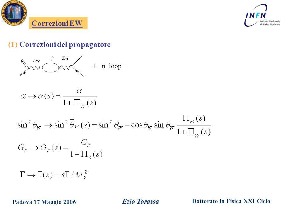 Dottorato in Fisica XXI Ciclo Padova 17 Maggio 2006 Ezio Torassa Correzioni EW  Z/  f + n loop (1) Correzioni del propagatore
