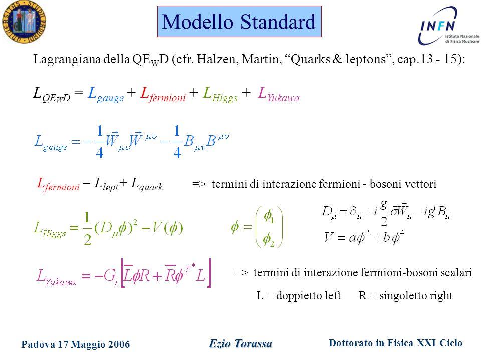 Dottorato in Fisica XXI Ciclo Padova 17 Maggio 2006 Ezio Torassa Modello Standard Lagrangiana della QE W D (cfr.