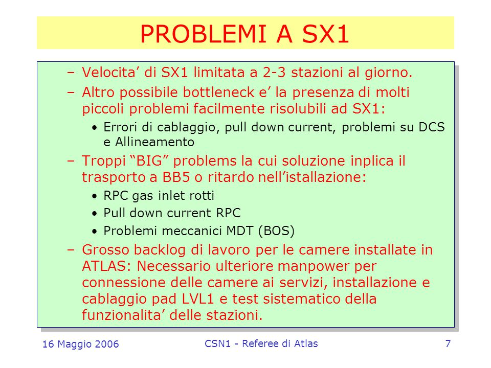 16 Maggio 2006 CSN1 - Referee di Atlas7 PROBLEMI A SX1 –Velocita' di SX1 limitata a 2-3 stazioni al giorno.