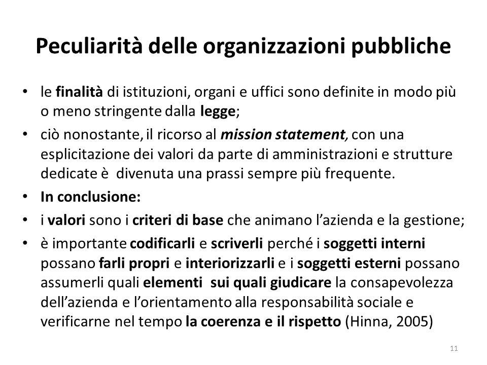 Peculiarità delle organizzazioni pubbliche le finalità di istituzioni, organi e uffici sono definite in modo più o meno stringente dalla legge; ciò no