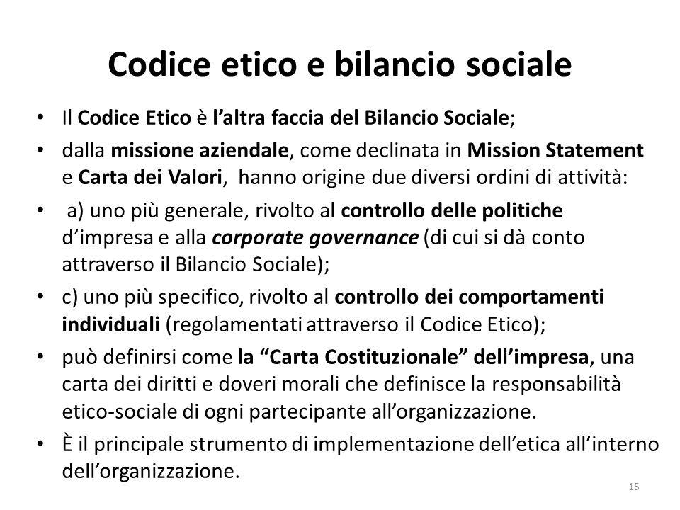 Codice etico e bilancio sociale Il Codice Etico è l'altra faccia del Bilancio Sociale; dalla missione aziendale, come declinata in Mission Statement e