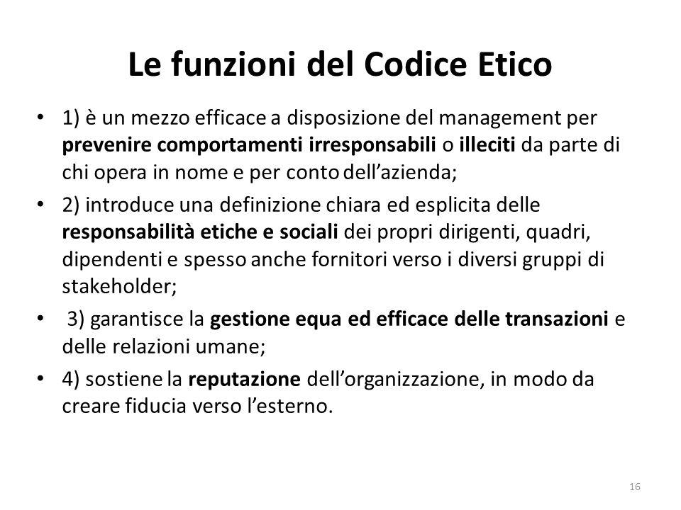 Le funzioni del Codice Etico 1) è un mezzo efficace a disposizione del management per prevenire comportamenti irresponsabili o illeciti da parte di ch