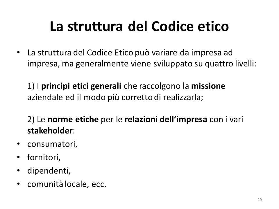 La struttura del Codice etico La struttura del Codice Etico può variare da impresa ad impresa, ma generalmente viene sviluppato su quattro livelli: 1)