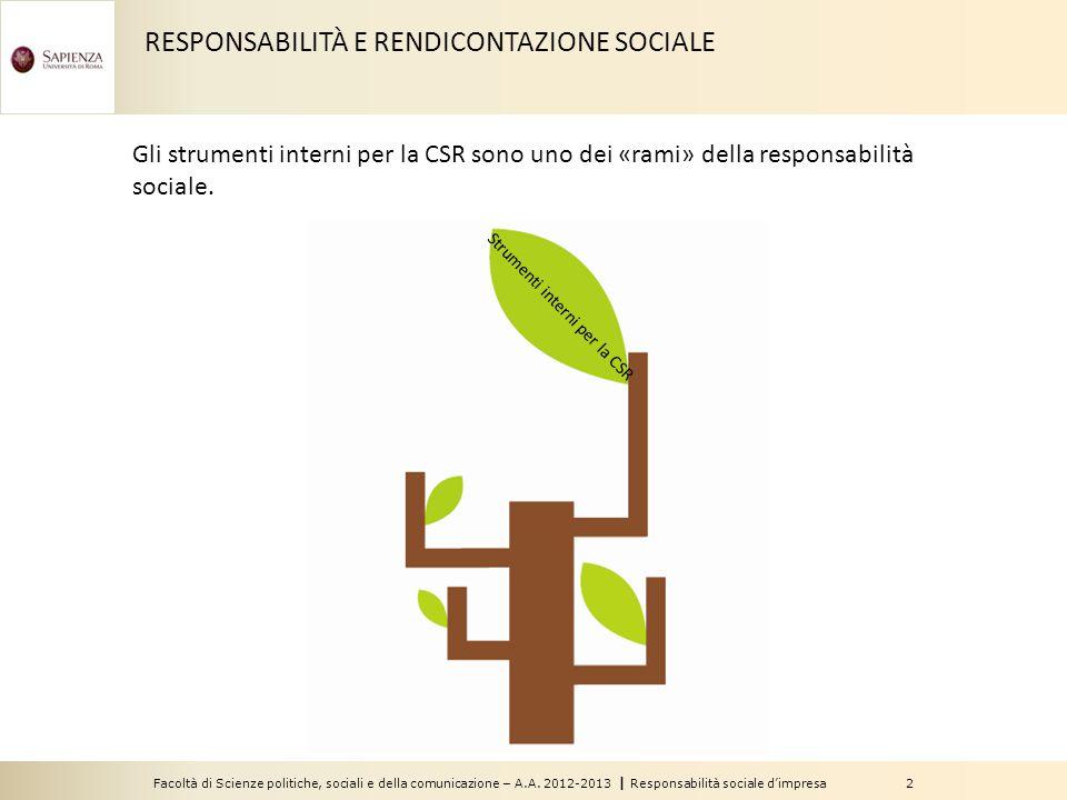 Facoltà di Scienze politiche, sociali e della comunicazione – A.A. 2012-2013   Responsabilità sociale d'impresa 2 Strumenti interni per la CSR Gli str
