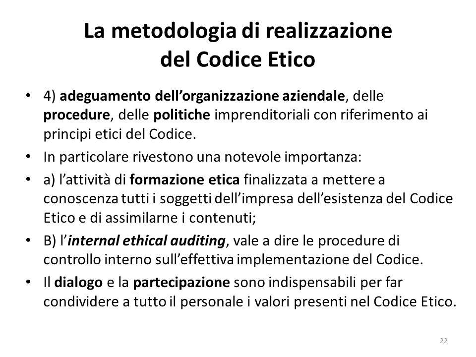 La metodologia di realizzazione del Codice Etico 4) adeguamento dell'organizzazione aziendale, delle procedure, delle politiche imprenditoriali con ri