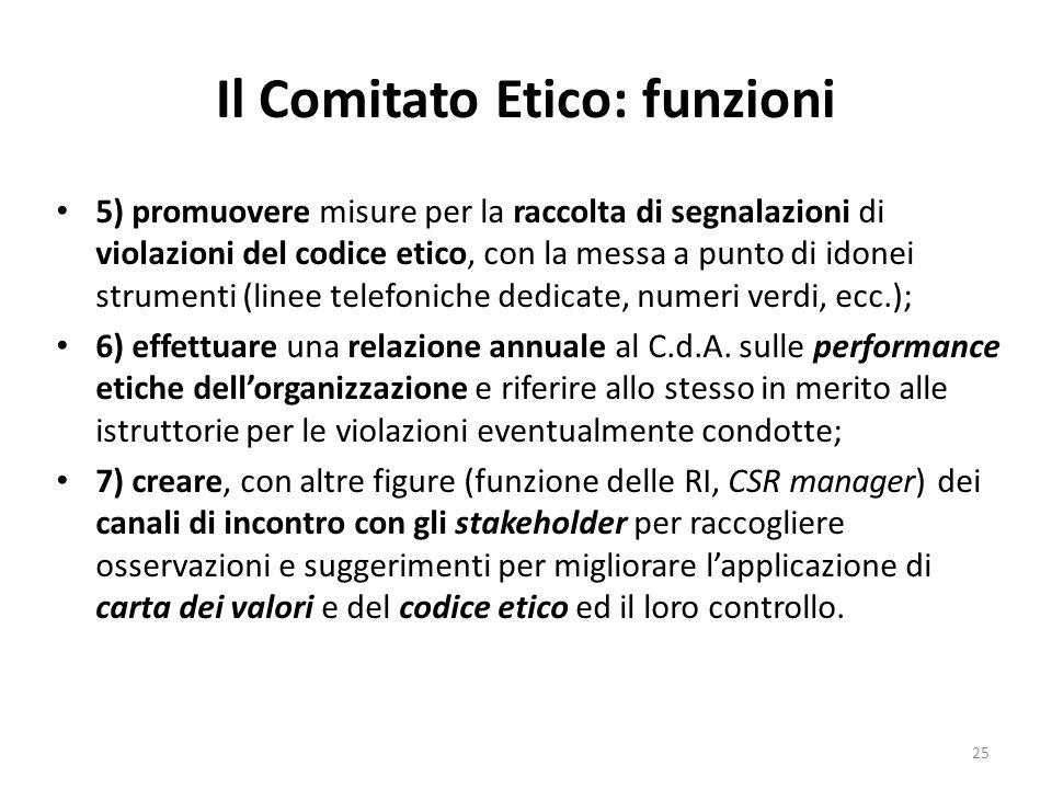 Il Comitato Etico: funzioni 5) promuovere misure per la raccolta di segnalazioni di violazioni del codice etico, con la messa a punto di idonei strume