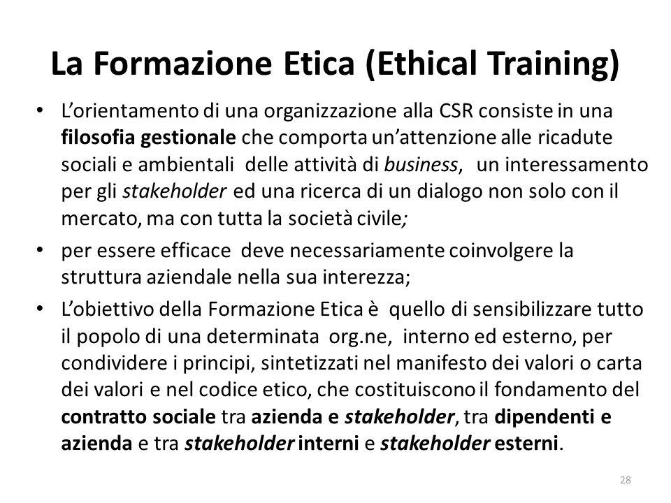 La Formazione Etica (Ethical Training) L'orientamento di una organizzazione alla CSR consiste in una filosofia gestionale che comporta un'attenzione a