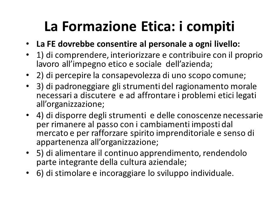 La Formazione Etica: i compiti La FE dovrebbe consentire al personale a ogni livello: 1) di comprendere, interiorizzare e contribuire con il proprio l