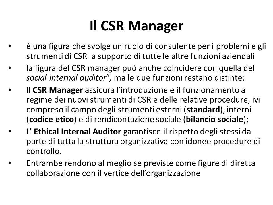 Il CSR Manager è una figura che svolge un ruolo di consulente per i problemi e gli strumenti di CSR a supporto di tutte le altre funzioni aziendali la