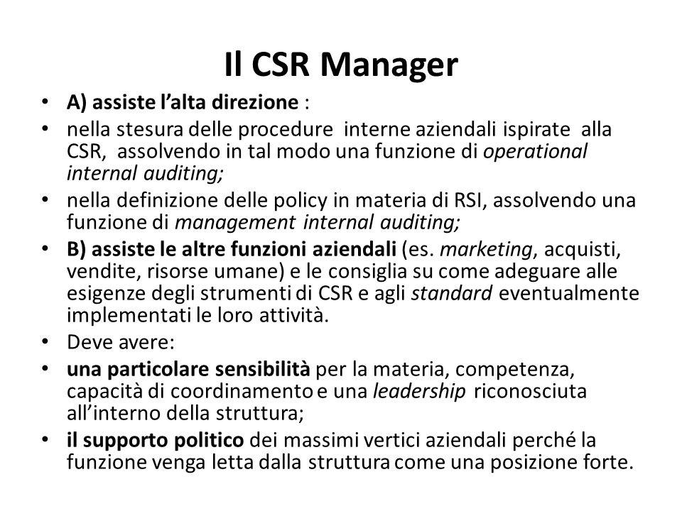 Il CSR Manager A) assiste l'alta direzione : nella stesura delle procedure interne aziendali ispirate alla CSR, assolvendo in tal modo una funzione di