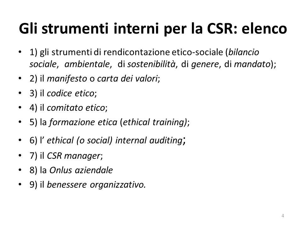 Gli strumenti interni per la CSR: elenco 1) gli strumenti di rendicontazione etico-sociale (bilancio sociale, ambientale, di sostenibilità, di genere,