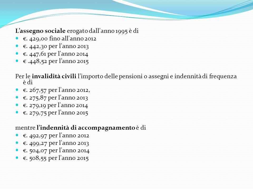 L'assegno sociale erogato dall anno 1995 è di €.429,00 fino all anno 2012 €.