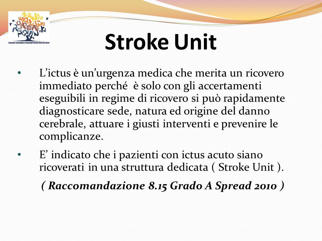 Stroke Unit L'ictus è un'urgenza medica che merita un ricovero immediato perché è solo con gli accertamenti eseguibili in regime di ricovero si può ra