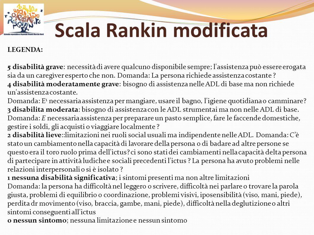 Scala Rankin modificata LEGENDA: 5 disabilità grave: necessità di avere qualcuno disponibile sempre; l'assistenza può essere erogata sia da un caregìv