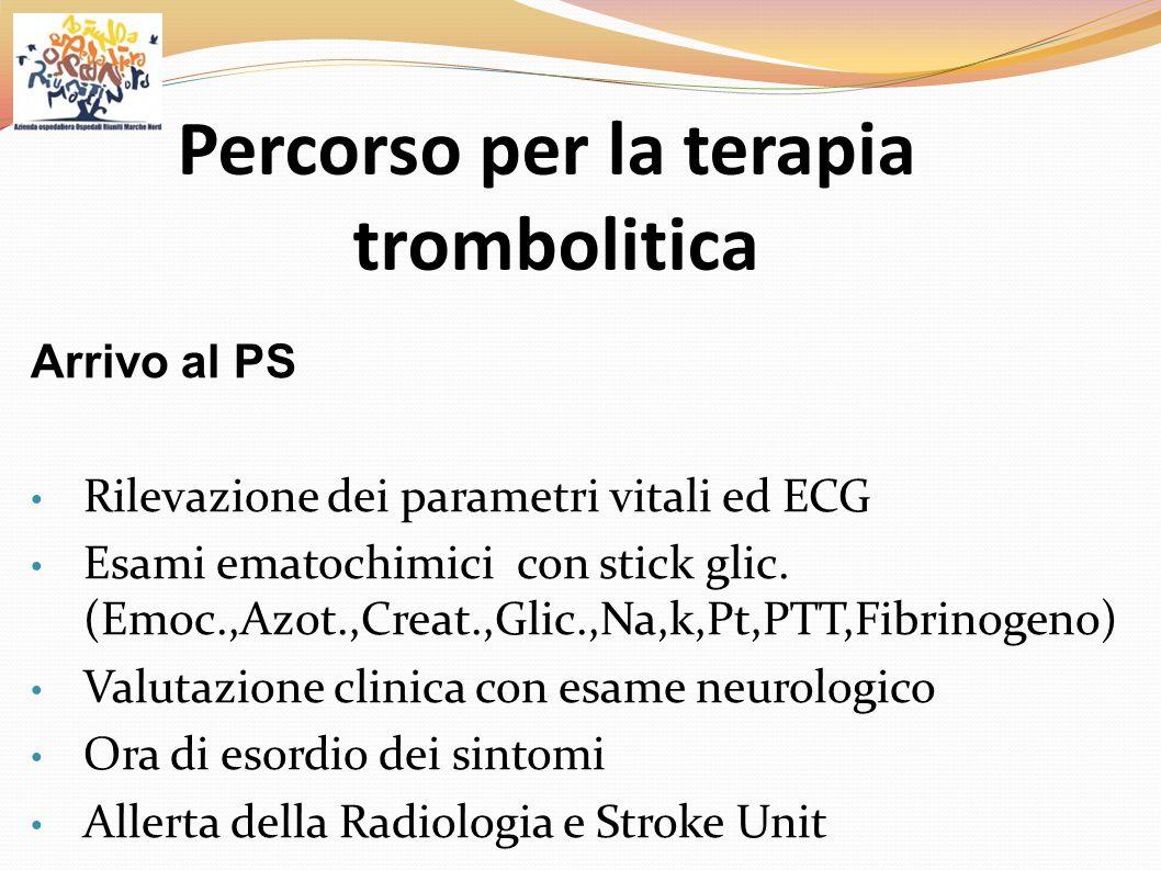 Arrivo al PS Rilevazione dei parametri vitali ed ECG Esami ematochimici con stick glic. (Emoc.,Azot.,Creat.,Glic.,Na,k,Pt,PTT,Fibrinogeno) Valutazione