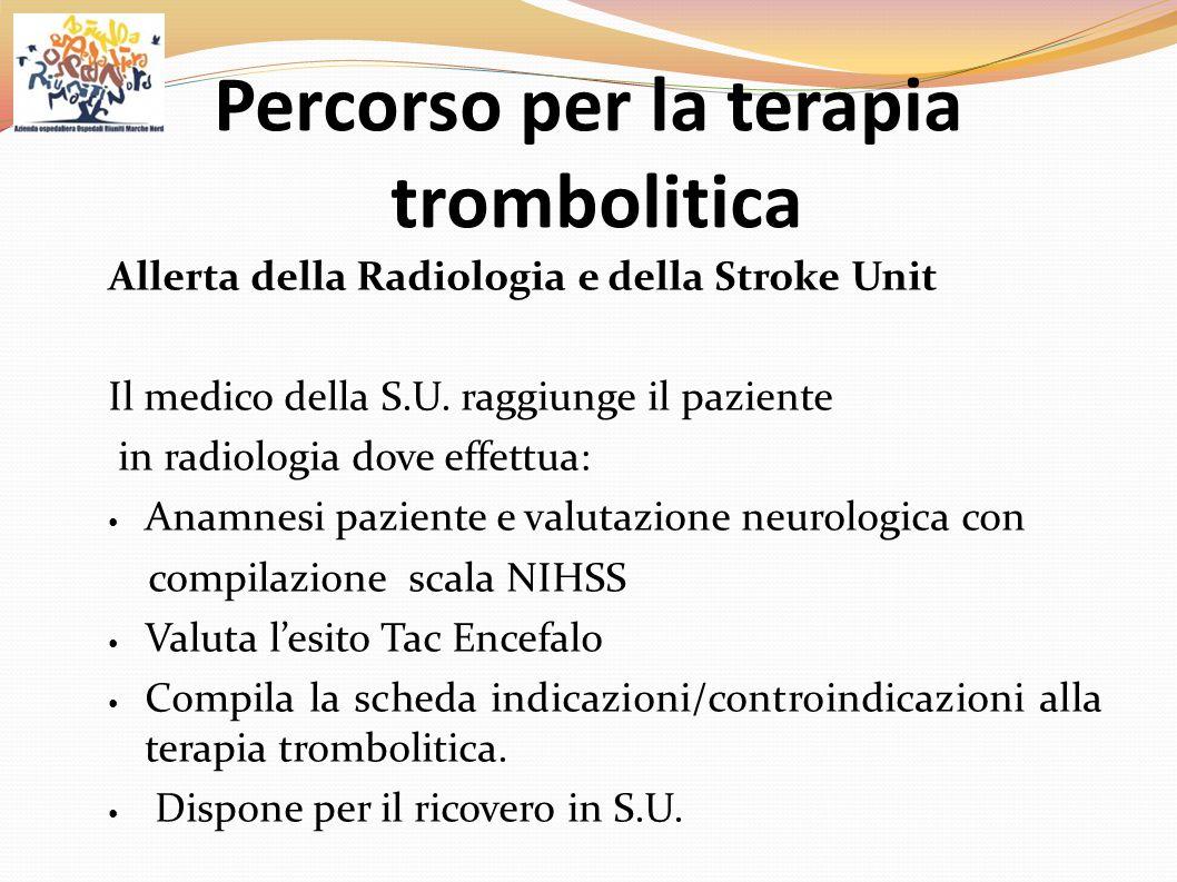 Allerta della Radiologia e della Stroke Unit Il medico della S.U. raggiunge il paziente in radiologia dove effettua: Anamnesi paziente e valutazione n
