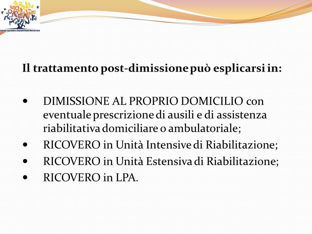 Il trattamento post-dimissione può esplicarsi in: DIMISSIONE AL PROPRIO DOMICILIO con eventuale prescrizione di ausili e di assistenza riabilitativa d