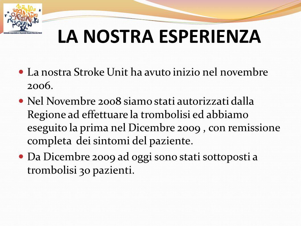 LA NOSTRA ESPERIENZA La nostra Stroke Unit ha avuto inizio nel novembre 2006. Nel Novembre 2008 siamo stati autorizzati dalla Regione ad effettuare la