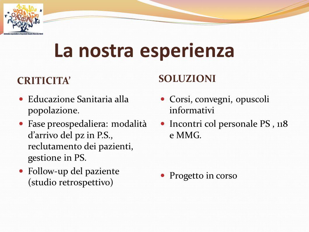 La nostra esperienza CRITICITA' SOLUZIONI Educazione Sanitaria alla popolazione. Fase preospedaliera: modalità d'arrivo del pz in P.S., reclutamento d