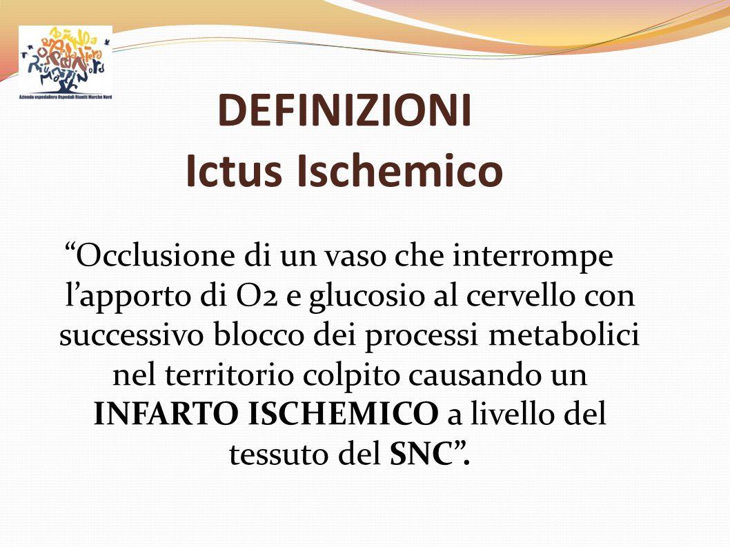 """DEFINIZIONI Ictus Ischemico """"Occlusione di un vaso che interrompe l'apporto di O2 e glucosio al cervello con successivo blocco dei processi metabolici"""