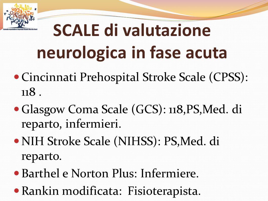 SCALE di valutazione neurologica in fase acuta Cincinnati Prehospital Stroke Scale (CPSS): 118. Glasgow Coma Scale (GCS): 118,PS,Med. di reparto, infe