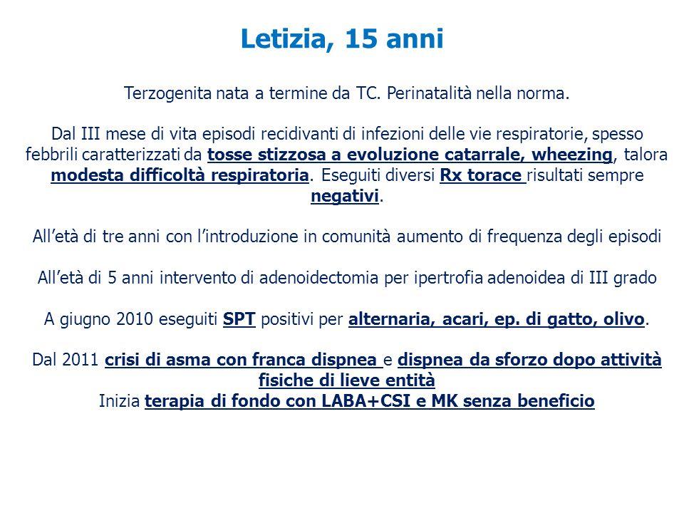 Letizia, 15 anni Terzogenita nata a termine da TC. Perinatalità nella norma. Dal III mese di vita episodi recidivanti di infezioni delle vie respirato
