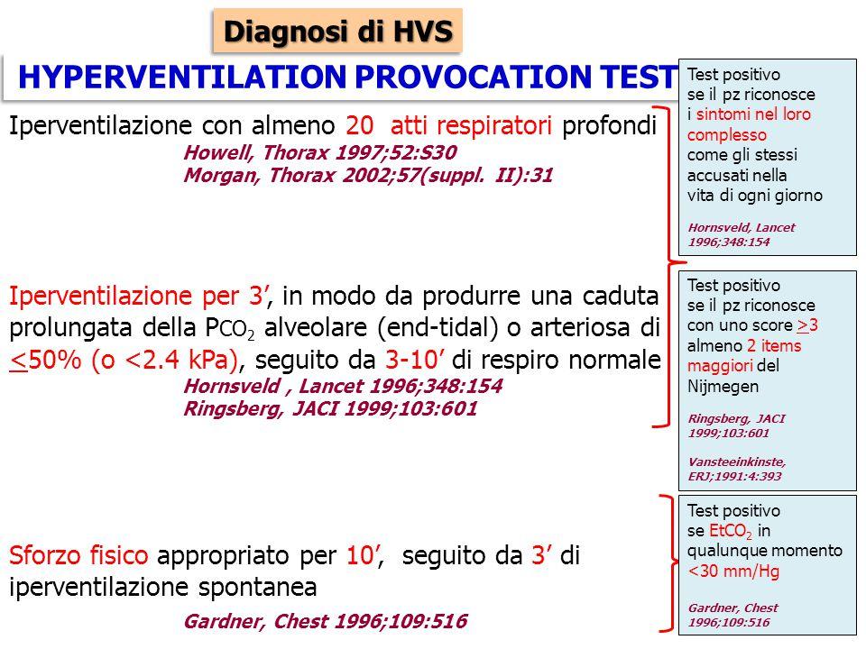 HYPERVENTILATION PROVOCATION TEST Iperventilazione con almeno 20 atti respiratori profondi Howell, Thorax 1997;52:S30 Morgan, Thorax 2002;57(suppl. II