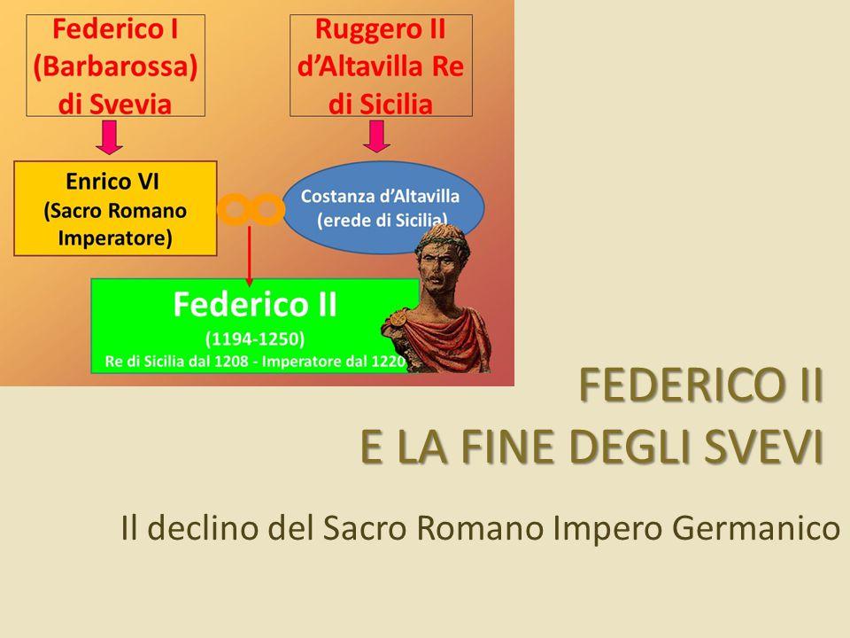 La politica di Federico II Si stabilisce in Sicilia, disinteressandosi della Germania.