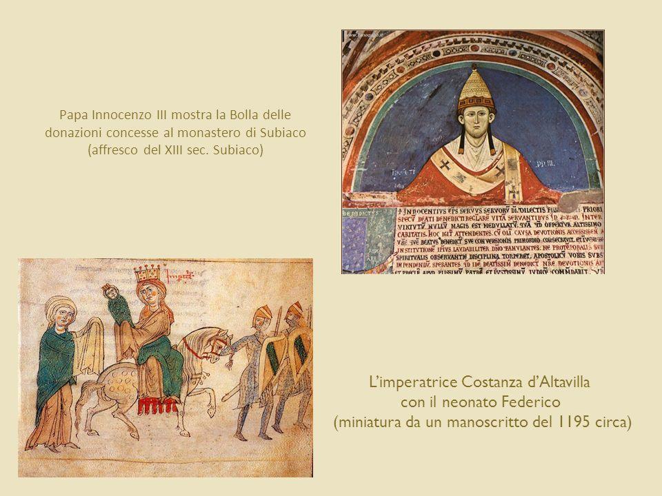 La fine della dinastia sveva Nel 1250 improvvisamente Federico muore  suo figlio naturale Manfredi si fa incoronare re di Sicilia, usurpando il trono a Corrado IV (figlio legittimo) Il papa, preoccupato, chiama in aiuto Carlo d'Angiò, fratello del re di Francia  1266 Battaglia di Benevento: Carlo d'Angiò sconfigge e uccide Manfredi 1268 Battaglia di Tagliacozzo: Carlo sconfigge l'ultimo degli Svevi, Corradino (figlio di Corrado IV) Carlo d'Angiò diventa re di Napoli e di Sicilia