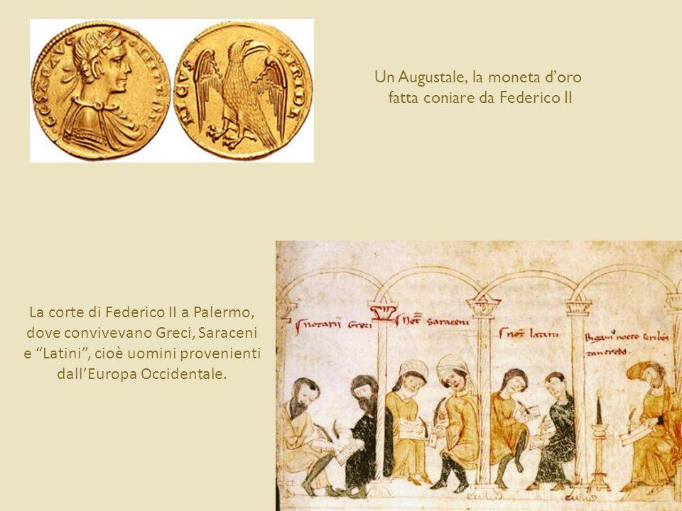 Federico II in trono, col suo falcone (miniatura dal De arte venandi cum avibus) L'imperatore comanda ai suoi falconieri (dalla traduzione francese del De arte venandi cum avibus)