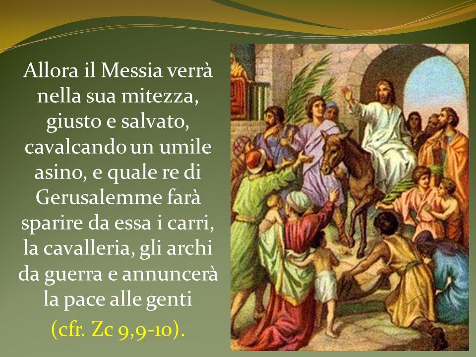 Allora il Messia verrà nella sua mitezza, giusto e salvato, cavalcando un umile asino, e quale re di Gerusalemme farà sparire da essa i carri, la cavalleria, gli archi da guerra e annuncerà la pace alle genti (cfr.