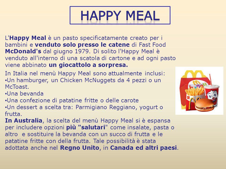 L'Happy Meal è un pasto specificatamente creato per i bambini e venduto solo presso le catene di Fast Food McDonald's dal giugno 1979. Di solito l'Hap