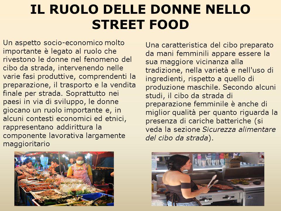 Un aspetto socio-economico molto importante è legato al ruolo che rivestono le donne nel fenomeno del cibo da strada, intervenendo nelle varie fasi pr