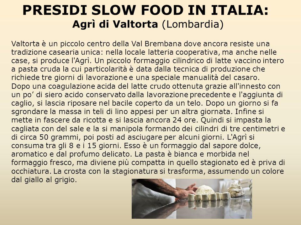PRESIDI SLOW FOOD IN ITALIA: Agrì di Valtorta (Lombardia) Valtorta è un piccolo centro della Val Brembana dove ancora resiste una tradizione casearia