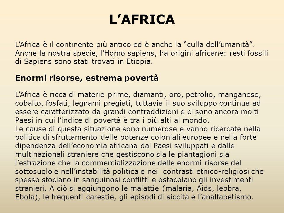 """L'Africa è il continente più antico ed è anche la """"culla dell'umanità"""". Anche la nostra specie, l'Homo sapiens, ha origini africane: resti fossili di"""